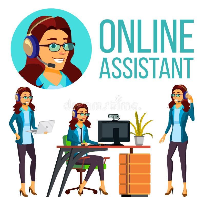Europeisk kvinnavektor för online-assistent Headphone hörlurar med mikrofon Helplineoperatör 3D framförde illustrationen illustra vektor illustrationer