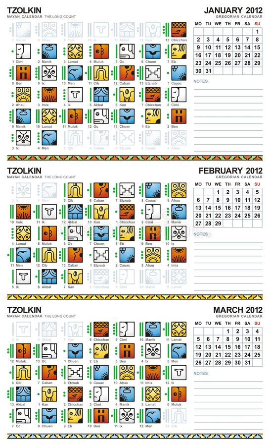 europeisk mayan januari för 2012 kalender marsch stock illustrationer
