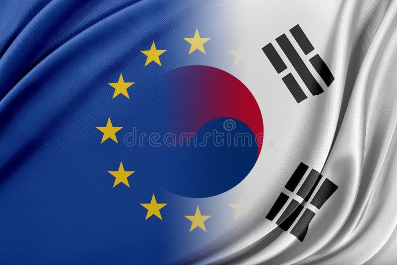 Europeisk södra union och Korea Begreppet av förhållandet mellan södra EU och Korea royaltyfri illustrationer
