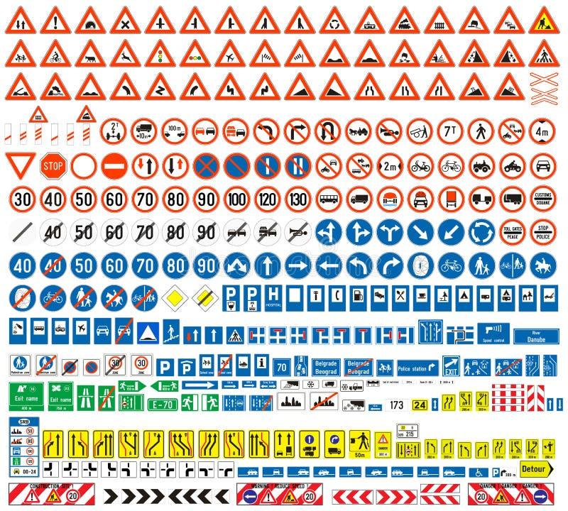 Europeisk samling för trafiktecken vektor illustrationer