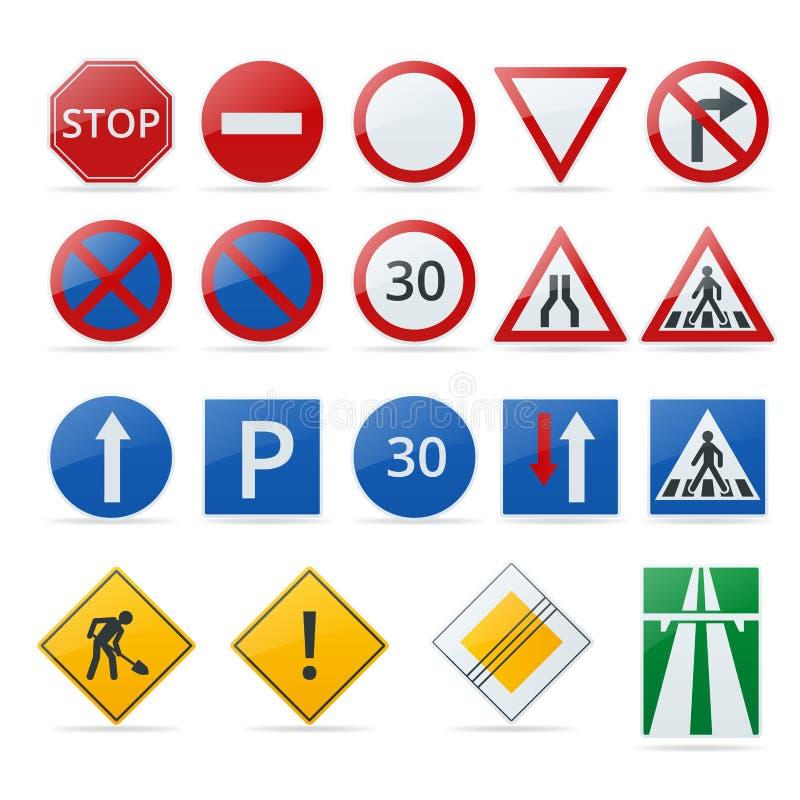 Europeisk samling för trafiktecken Tecken av fara obligatoriska tecken Tecken av åtaganden Tecken av varningar royaltyfri illustrationer