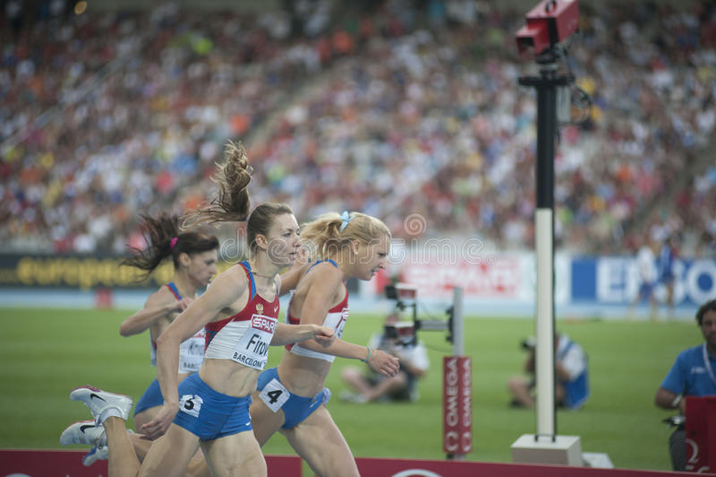 europeisk sista ryss för 400m idrottsman nenar barcelona2010 arkivbilder