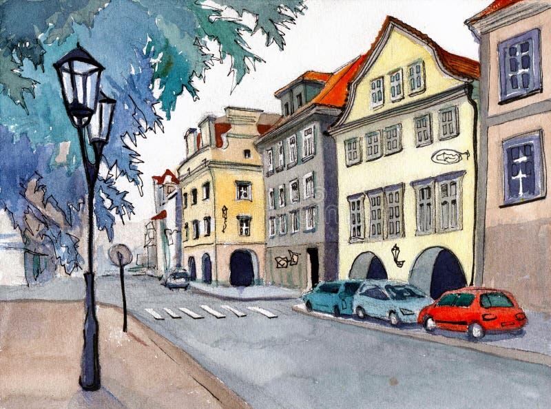 Europeisk stad med gamla hus royaltyfri bild