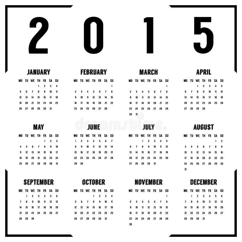 Europeisk svartvit 2015 år kalender royaltyfri illustrationer