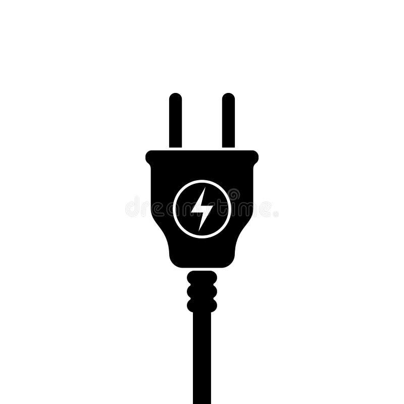 Europeisk symbol för elektrisk propp, symbol Europa normal Blixttecken stock illustrationer