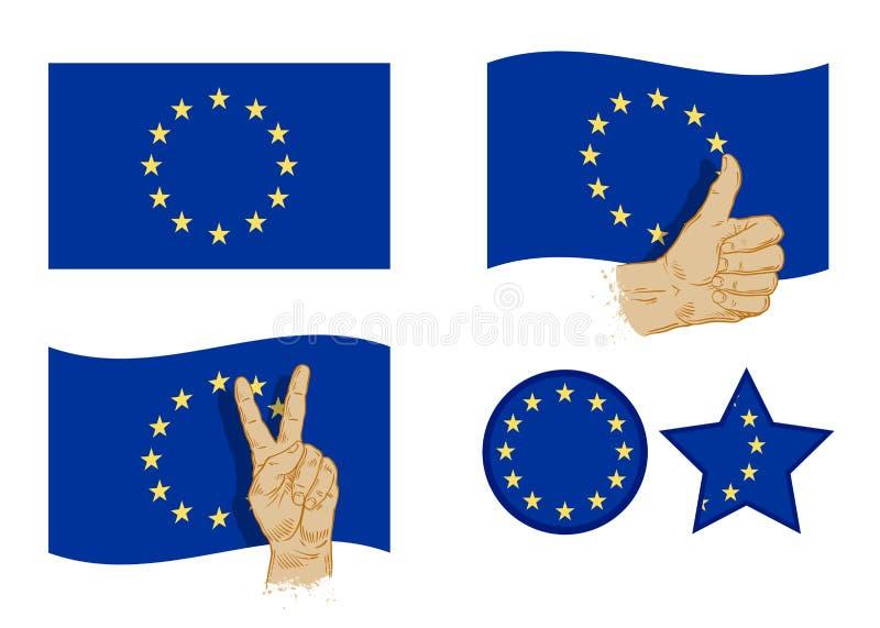 Europeisk symbolsuppsättning för facklig flagga också vektor för coreldrawillustration stock illustrationer