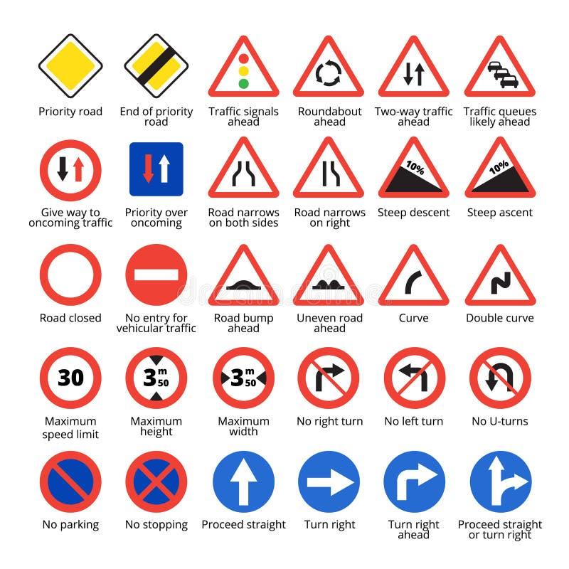 europeisk teckentrafik Samling för vektorvägsymboler royaltyfri illustrationer