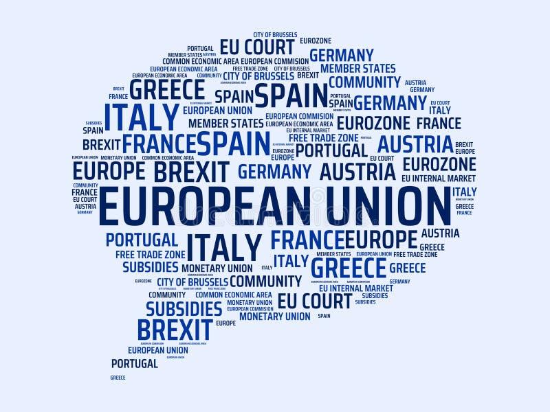 EUROPEISK UNION - avbilda med ord som förbinds med ämnet EUROPEAN_UNION, uttrycker molnet, skära i tärningar, märker, avbildar, i royaltyfri illustrationer