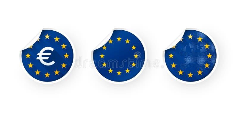 Europeisk union, EUROET, EU-symbolsklistermärkear ställde in vektor illustrationer