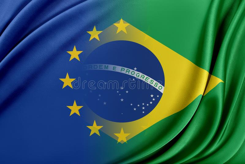 Europeisk union och Brasilien Begreppet av förhållandet mellan EU och Brasilien stock illustrationer
