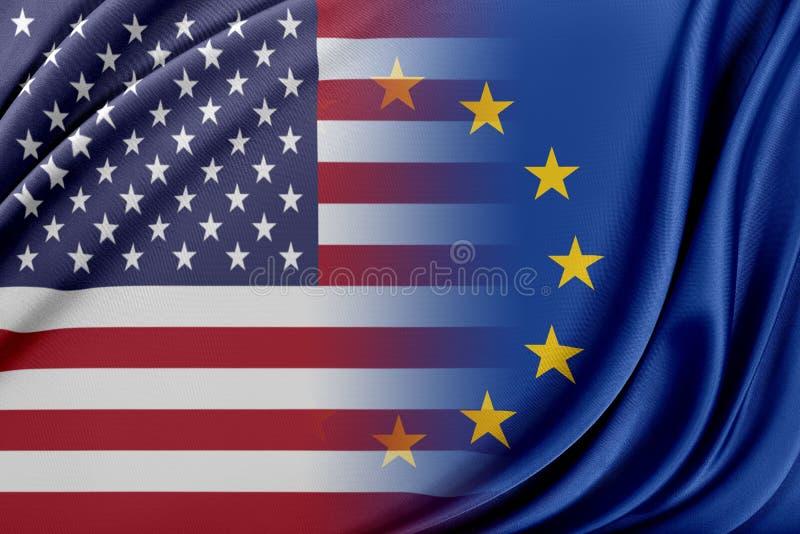 Europeisk union och Förenta staterna Begreppet av förhållandet mellan EU och Förenta staterna vektor illustrationer