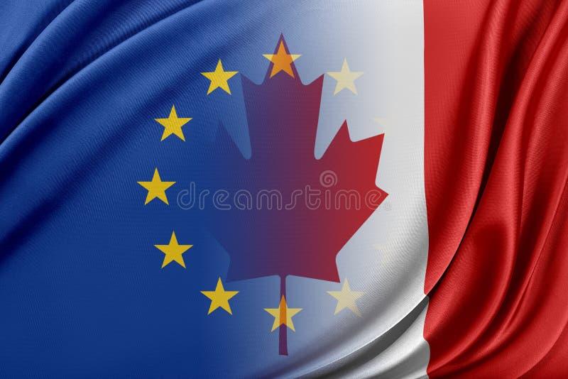 Europeisk union och Kanada Begreppet av förhållandet mellan EU och Kanada royaltyfri illustrationer
