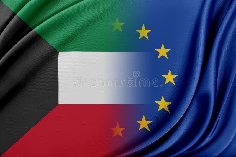 Europeisk union och Kuwait Begreppet av förhållandet mellan EU och Kuwait royaltyfri illustrationer