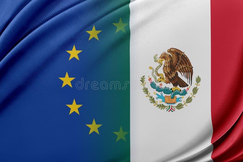 Europeisk union och Mexico Begreppet av förhållandet mellan EU och Mexico stock illustrationer