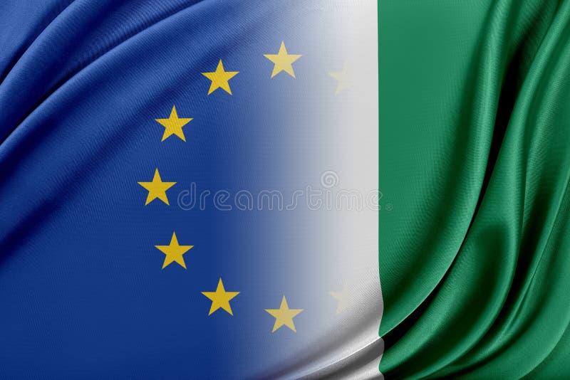 Europeisk union och Nigeria Begreppet av förhållandet mellan EU och Nigeria royaltyfri illustrationer