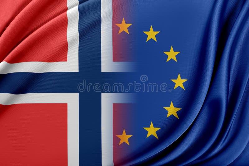 Europeisk union och Norge Begreppet av förhållandet mellan EU och Norge stock illustrationer