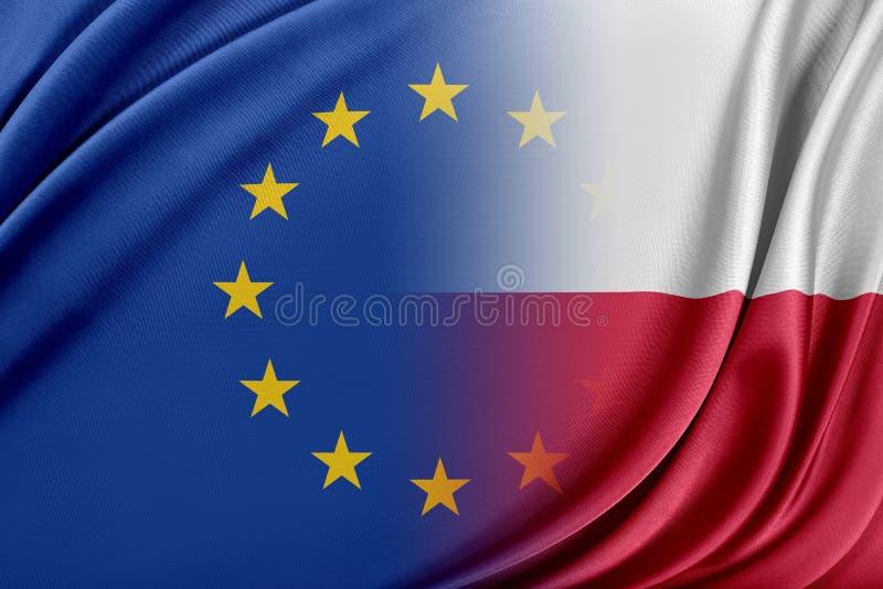 Europeisk union och Polen Begreppet av förhållandet mellan EU och Polen vektor illustrationer
