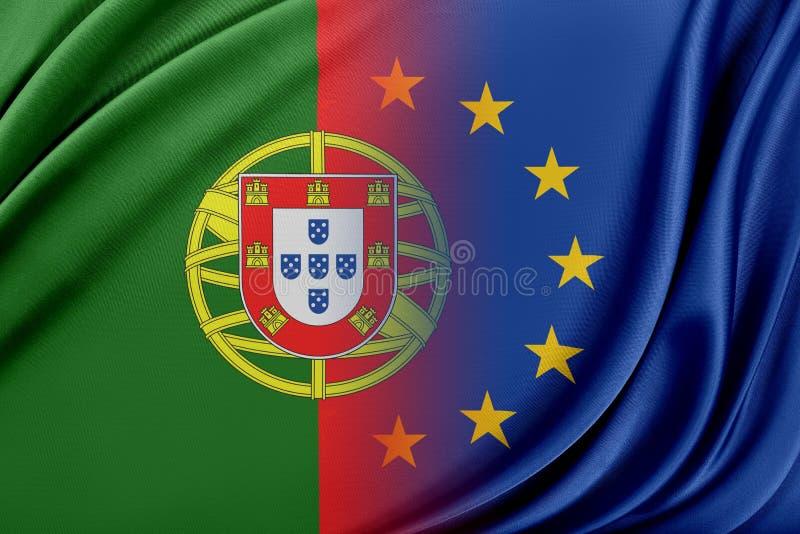 Europeisk union och Portugal Begreppet av förhållandet mellan EU och Portugal royaltyfri illustrationer