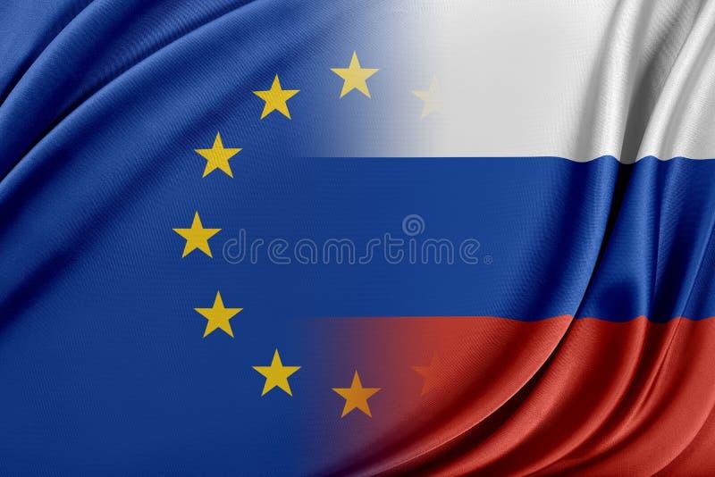 Europeisk union och Ryssland Begreppet av förhållandet mellan EU och Ryssland vektor illustrationer