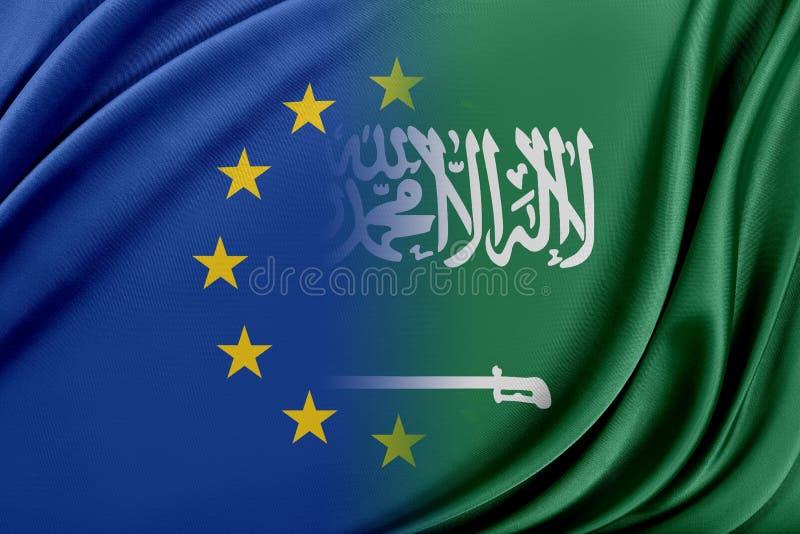 Europeisk union och Saudiarabien Begreppet av förhållandet mellan EU och Saudiarabien royaltyfri illustrationer