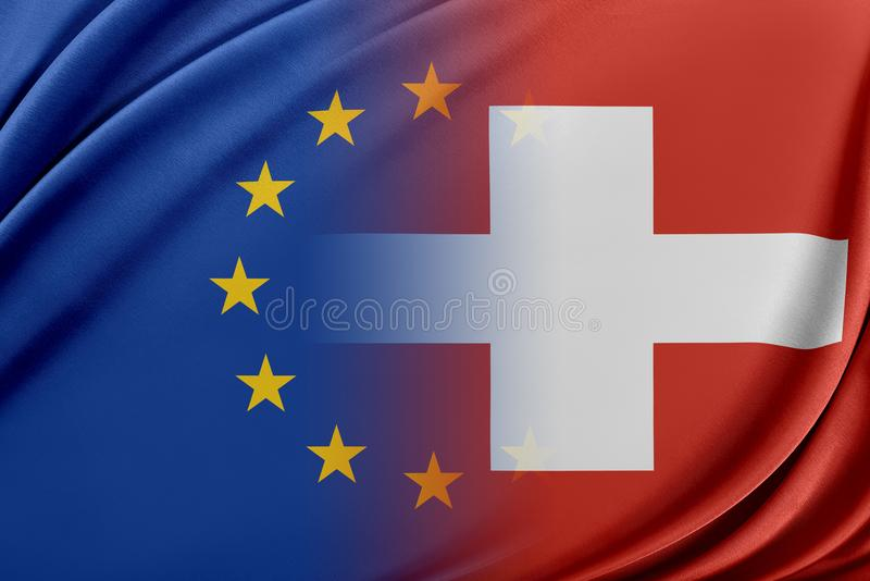 Europeisk union och Schweiz Begreppet av förhållandet mellan EU och Schweiz stock illustrationer