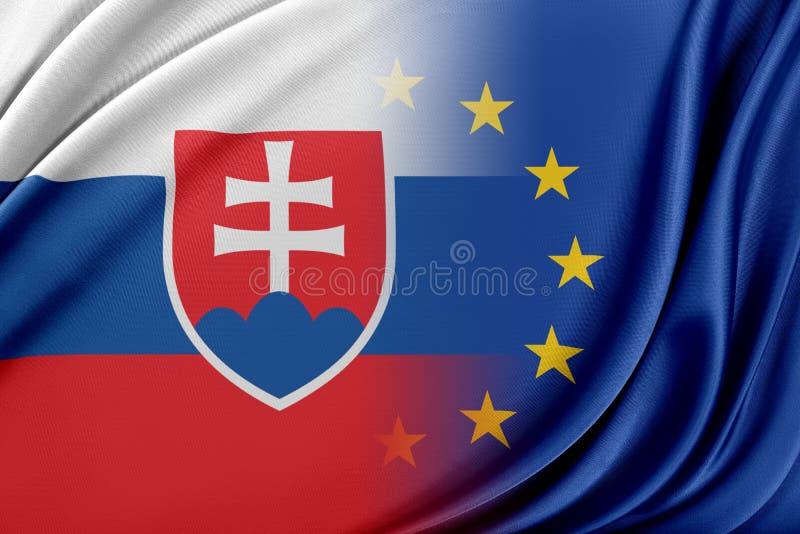 Europeisk union och Slovakien Begreppet av förhållandet mellan EU och Slovakien vektor illustrationer