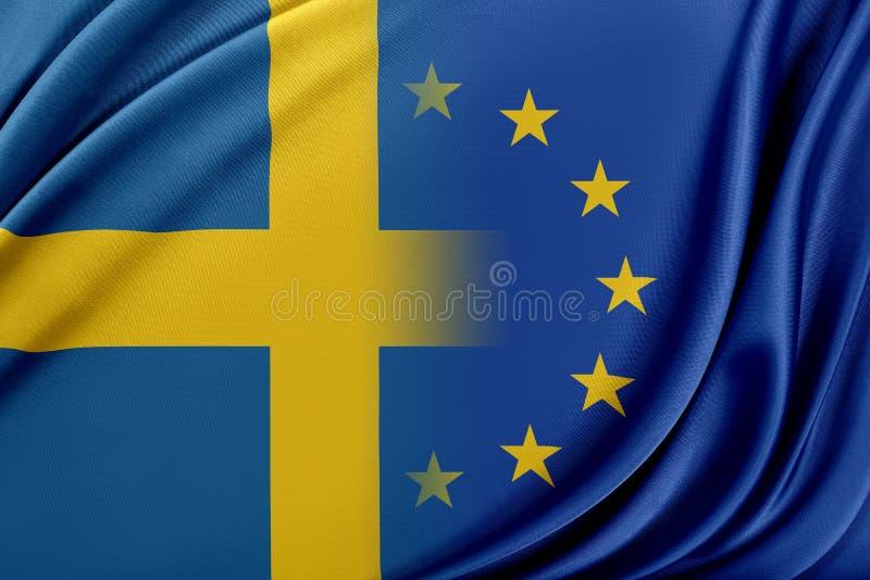 Europeisk union och Sverige Begreppet av förhållandet mellan EU och Sverige royaltyfri illustrationer