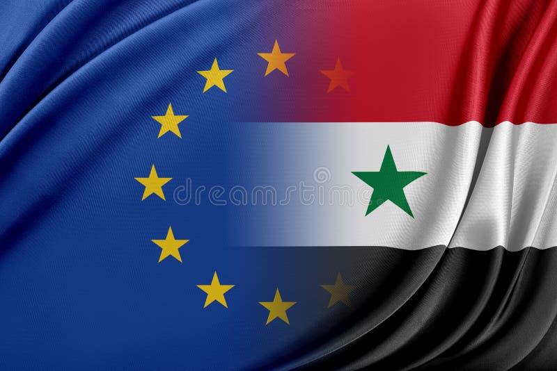 Europeisk union och Syrien Begreppet av förhållandet mellan EU och Syrien vektor illustrationer