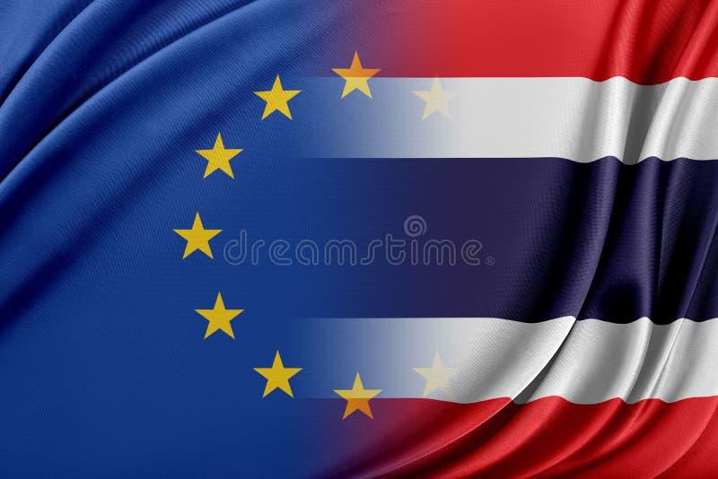 Europeisk union och Thailand Begreppet av förhållandet mellan EU och Thailand royaltyfri illustrationer