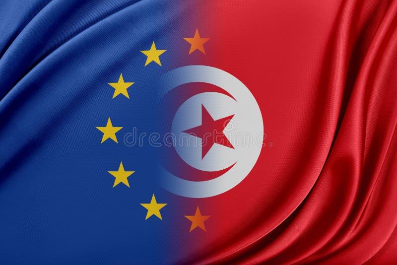 Europeisk union och Tunisien Begreppet av förhållandet mellan EU och Tunisien vektor illustrationer