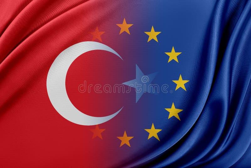 Europeisk union och Turkiet Begreppet av förhållandet mellan EU och Turkiet stock illustrationer