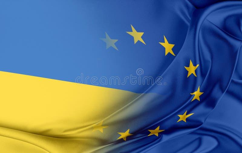 Europeisk union och Ukraina royaltyfri illustrationer
