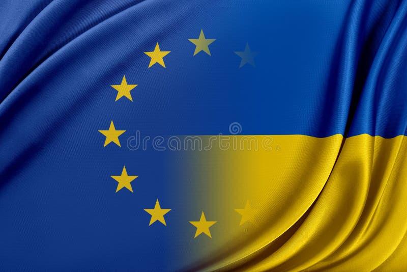 Europeisk union och Ukraina Begreppet av förhållandet mellan EU och Ukraina royaltyfri illustrationer