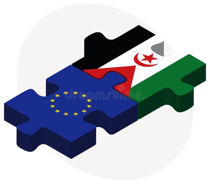 Europeisk union och västra Sahara Flags i pusslet som isoleras på vit bakgrund stock illustrationer