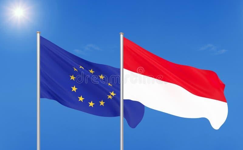 Europeisk union vs Indonesien Tjocka kulöra silkeslena flaggor av europeisk union och Indonesien royaltyfri illustrationer