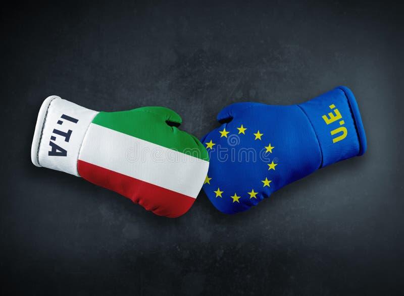 Europeisk union vs Italien konfliktconpet arkivfoto