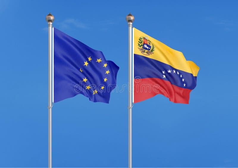Europeisk union vs Venezuela Tjocka kulöra silkeslena flaggor av europeisk union och Israel illustration 3D p? himmelbakgrund _ stock illustrationer