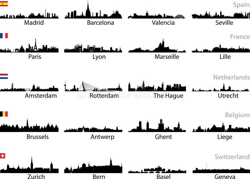 Europeisk uppsättning för stadshorisontvektor royaltyfri illustrationer