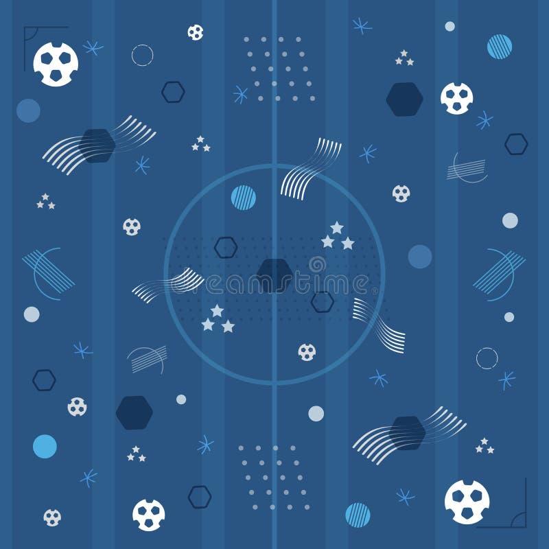 Europeiska blå bakgrund för fotbollmästerskap 2016 vektor illustrationer