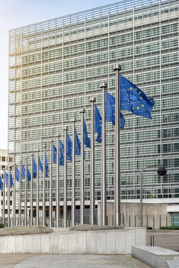 Europeiska fackliga flaggor framme av Berlaymonten royaltyfria bilder