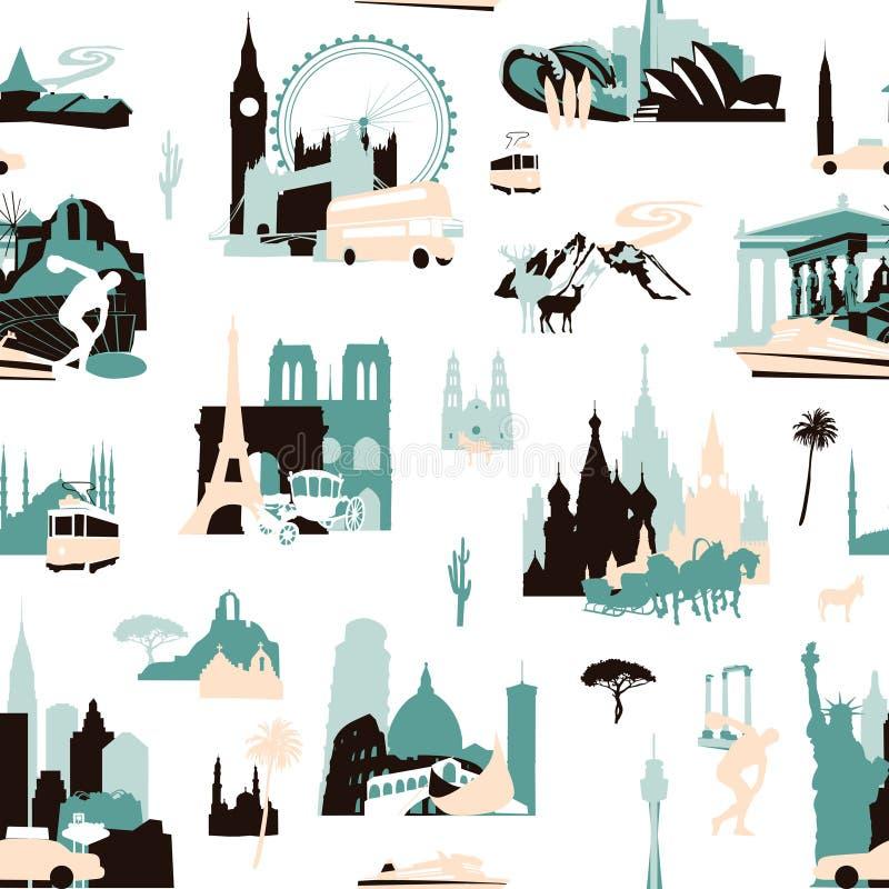 Europeiska ferier seamless modell stock illustrationer