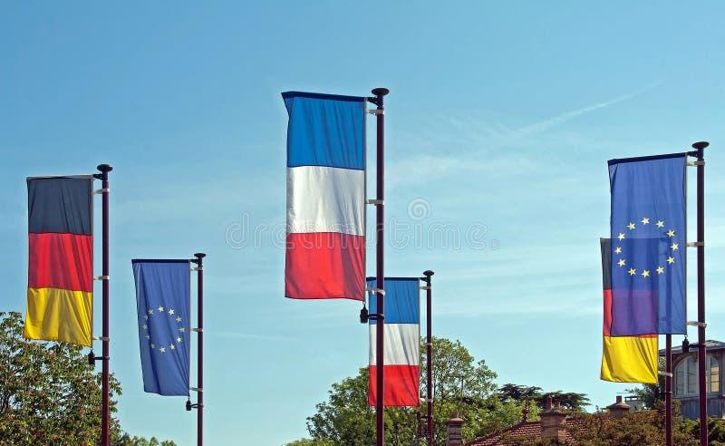 europeiska flaggor royaltyfria foton
