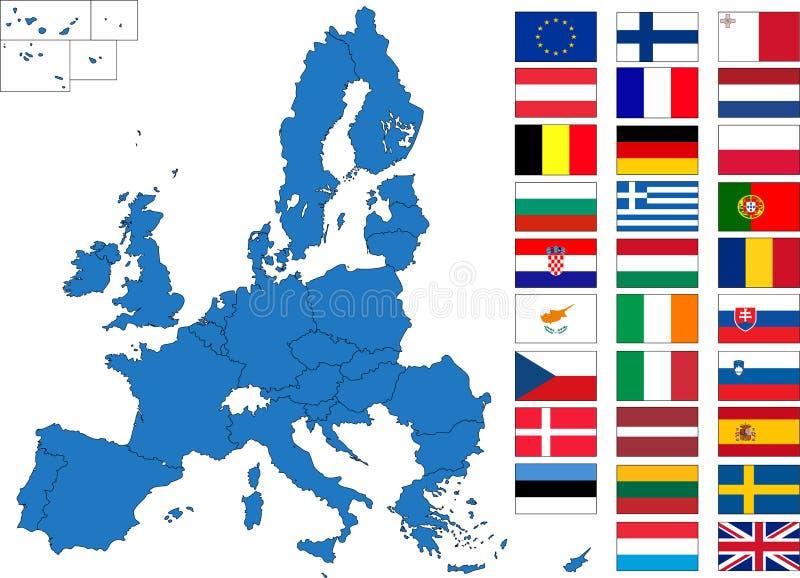 europeiska flaggor planerar union stock illustrationer