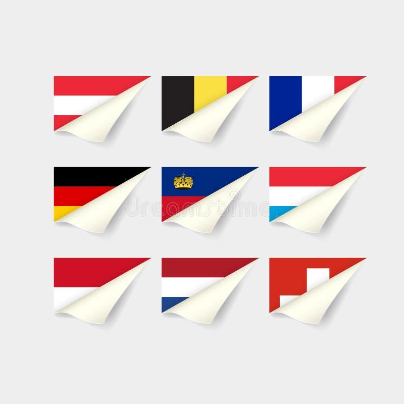 europeiska flaggor Västeuropa stock illustrationer