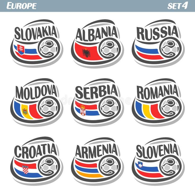 Europeiska fotbollflaggor vektor illustrationer