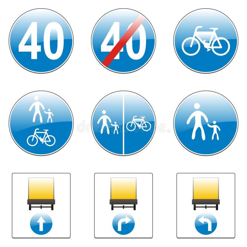 europeiska isolerade vägmärken stock illustrationer