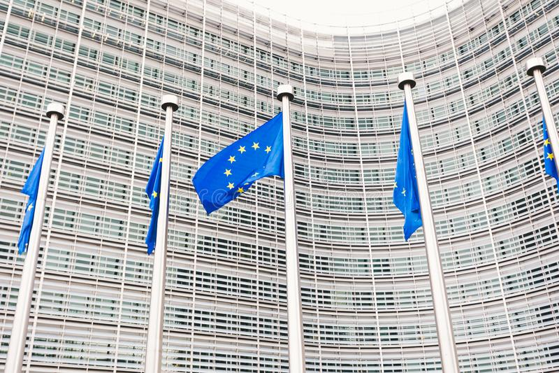 Europeiska kommissionenh?gkvarter i Bryssel, Belgien arkivfoto