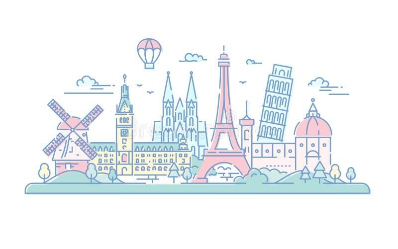 Europeiska länder - vektorlinje loppillustration stock illustrationer