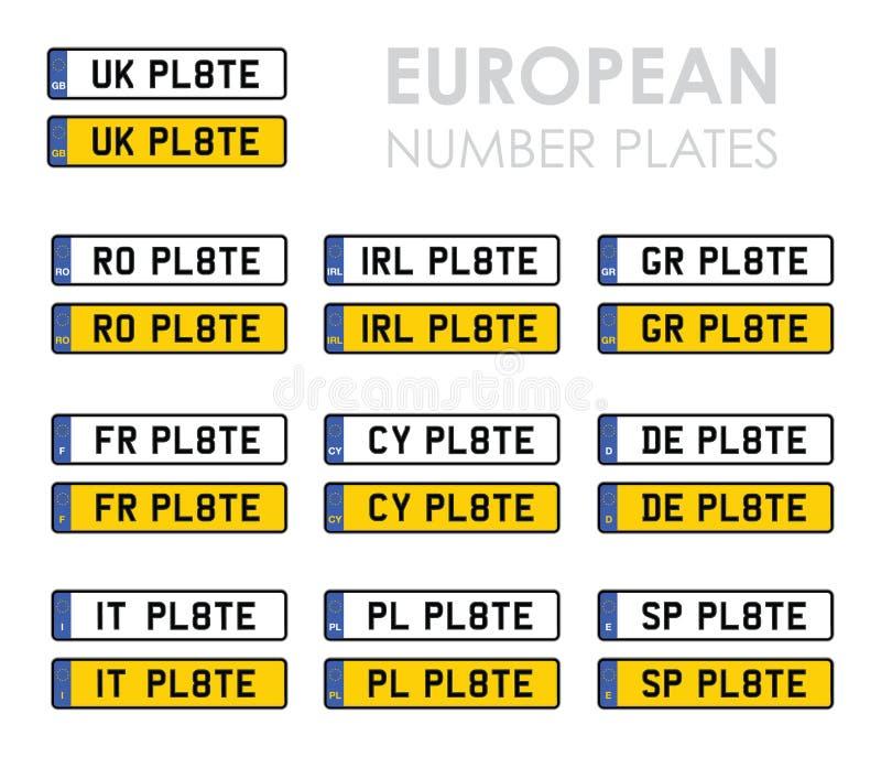 Europeiska registreringsskyltar royaltyfri illustrationer