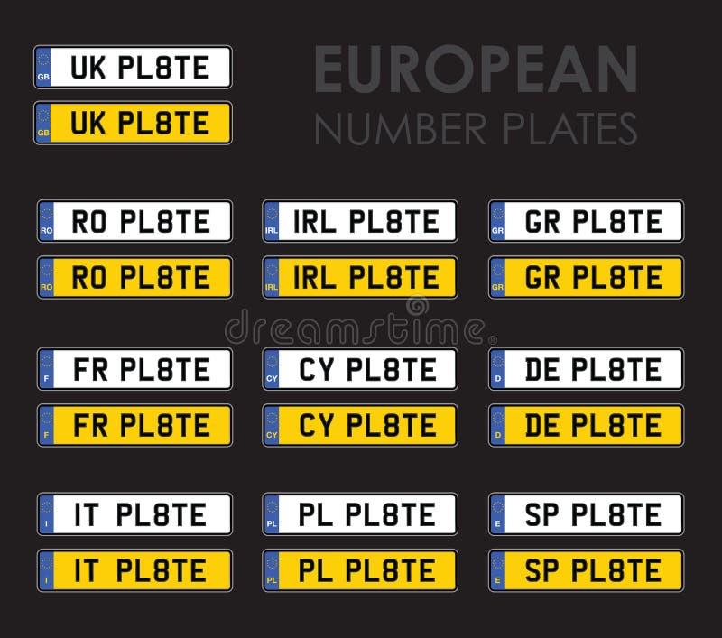 Download Europeiska Registreringsskyltar Fotografering för Bildbyråer - Bild av väg, huvudväg: 37345509